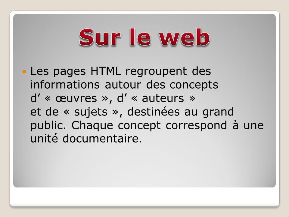 Les pages HTML regroupent des informations autour des concepts d « œuvres », d « auteurs » et de « sujets », destinées au grand public.