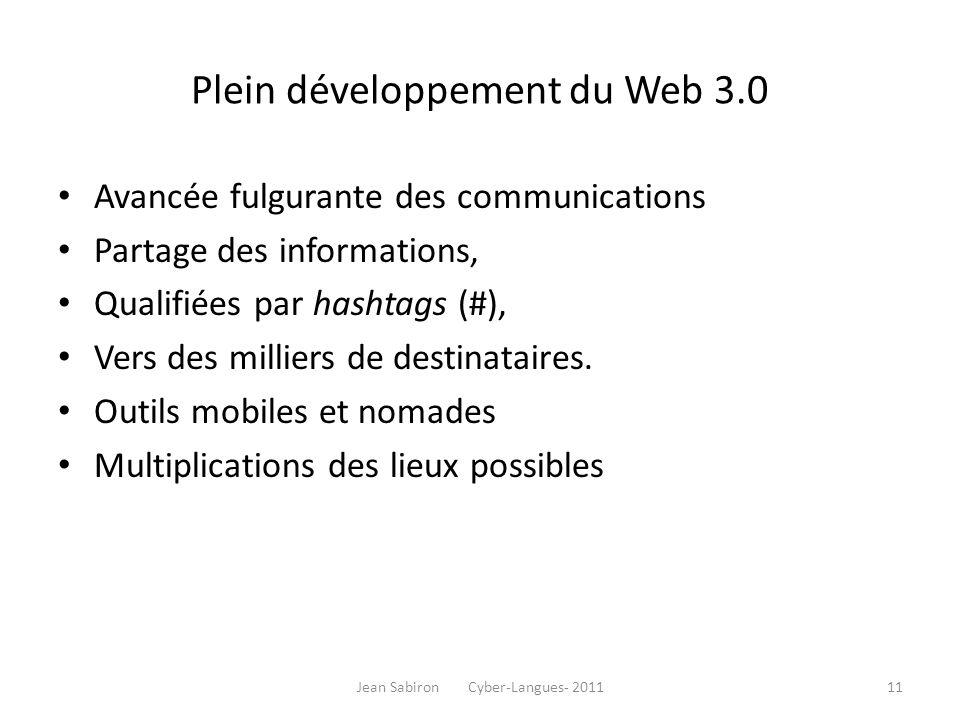 Plein développement du Web 3.0 Avancée fulgurante des communications Partage des informations, Qualifiées par hashtags (#), Vers des milliers de desti