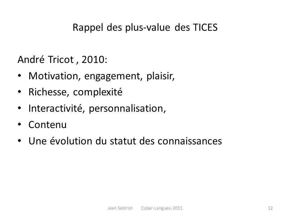 Rappel des plus-value des TICES André Tricot, 2010: Motivation, engagement, plaisir, Richesse, complexité Interactivité, personnalisation, Contenu Une