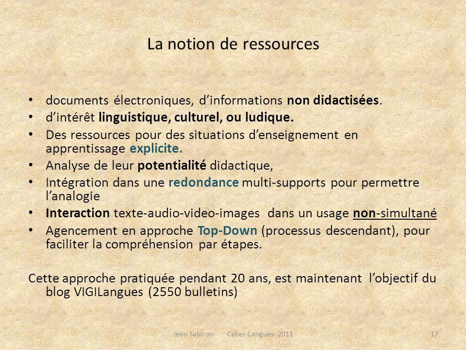 La notion de ressources documents électroniques, dinformations non didactisées. dintérêt linguistique, culturel, ou ludique. Des ressources pour des s