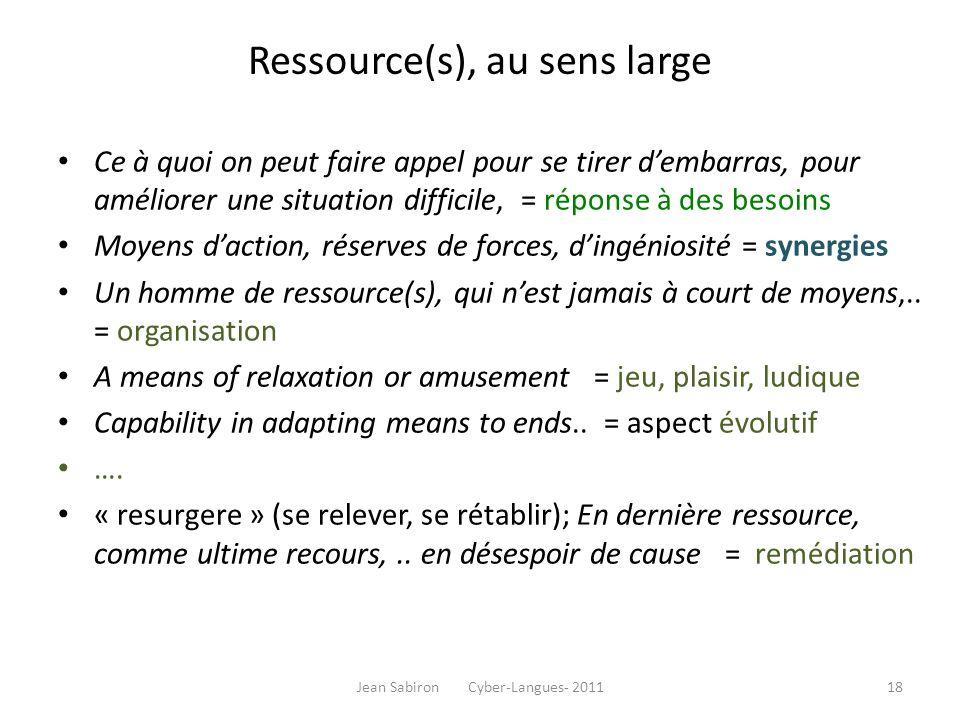 Ressource(s), au sens large Ce à quoi on peut faire appel pour se tirer dembarras, pour améliorer une situation difficile, = réponse à des besoins Moy