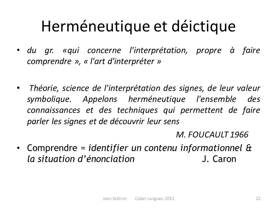 Herméneutique et déictique du gr. «qui concerne l'interprétation, propre à faire comprendre », « l'art d'interpréter » Théorie, science de l'interprét