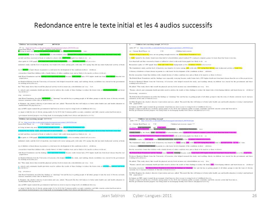 Redondance entre le texte initial et les 4 audios successifs Jean Sabiron Cyber-Langues- 201126