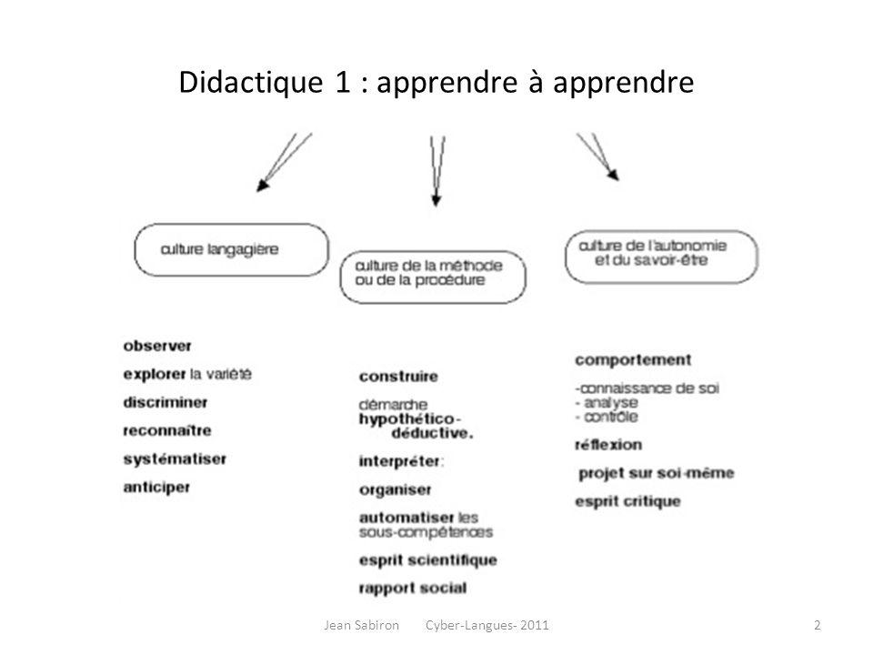 Didactique 1 : apprendre à apprendre Jean Sabiron Cyber-Langues- 20112