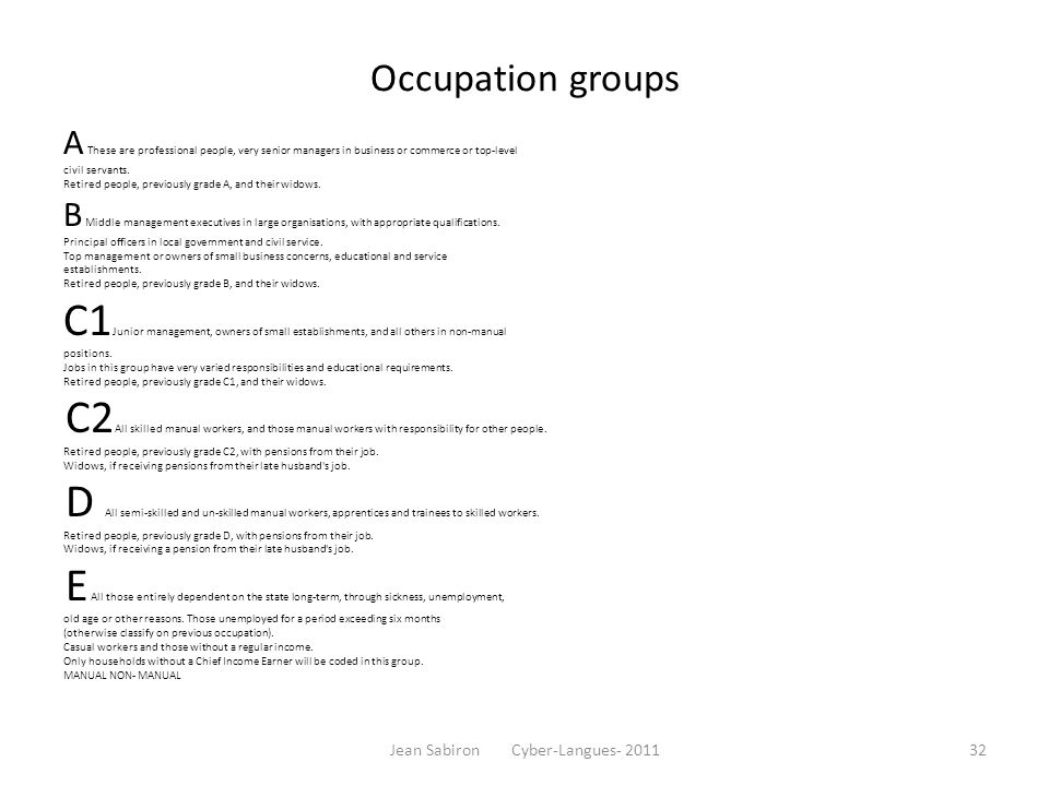 Occupation groups A These are professional people, very senior managers in business or commerce or top-level civil servants. Retired people, previousl