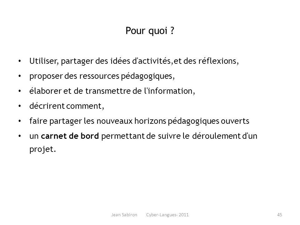Jean Sabiron Cyber-Langues- 2011 Pour quoi ? Utiliser, partager des idées d'activités,et des réflexions, proposer des ressources pédagogiques, élabore