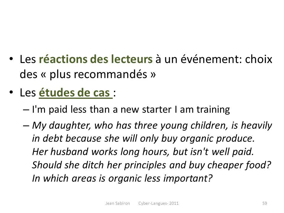 Les réactions des lecteurs à un événement: choix des « plus recommandés » Les études de cas : – I'm paid less than a new starter I am training – My da