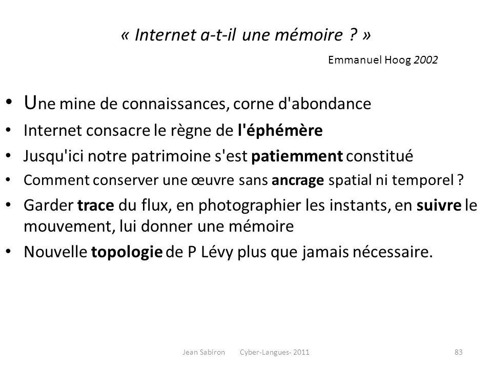 « Internet a-t-il une mémoire ? » Emmanuel Hoog 2002 U ne mine de connaissances, corne d'abondance Internet consacre le règne de l'éphémère Jusqu'ici