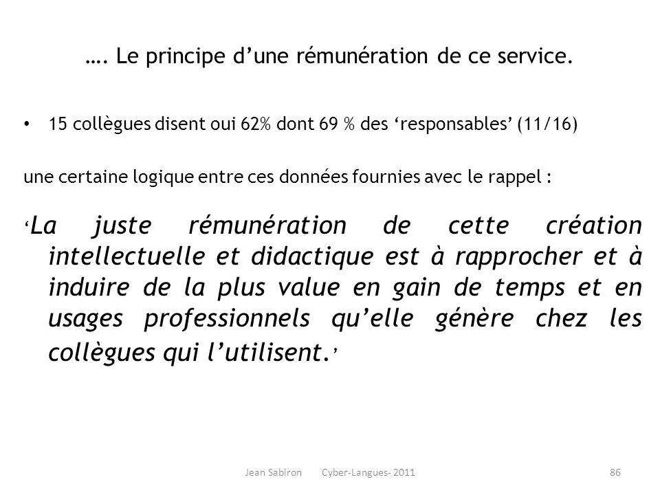 Jean Sabiron Cyber-Langues- 2011 …. Le principe dune rémunération de ce service. 15 collègues disent oui 62% dont 69 % des responsables (11/16) une ce