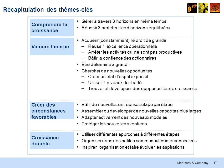 McKinsey & Company | 17 Récapitulation des thèmes-clés Comprendre la croissance Gérer à travers 3 horizons en même temps Réussir 3 protefeuilles dhori