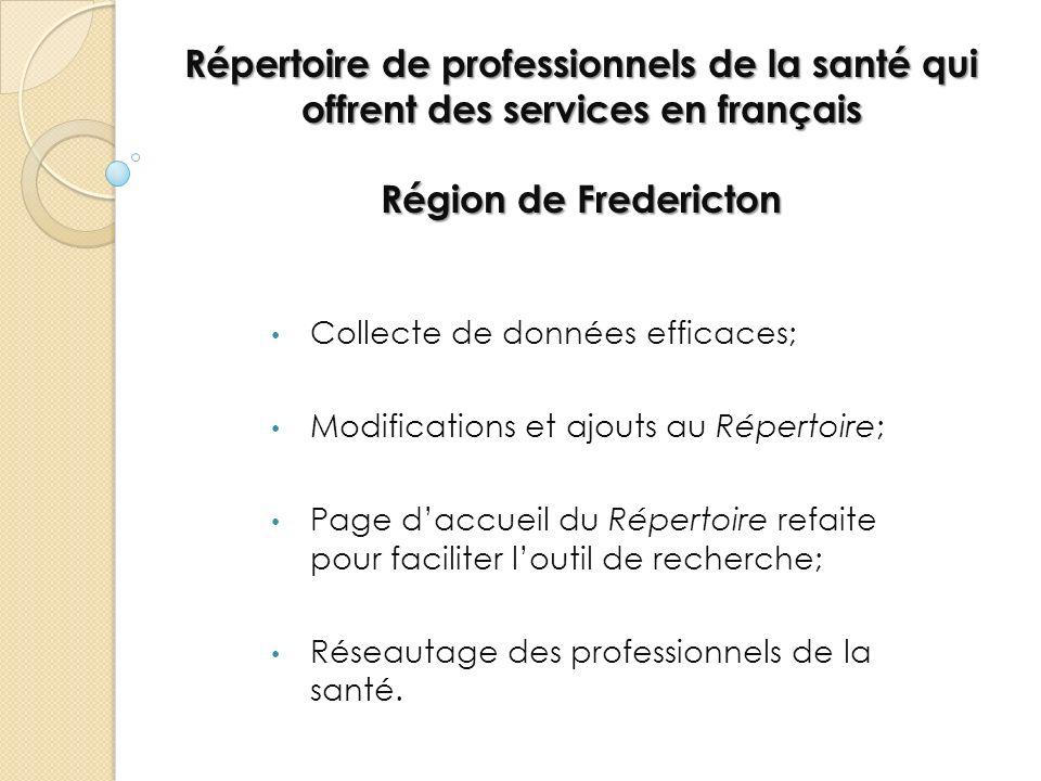 Répertoire de professionnels de la santé qui offrent des services en français Région de Fredericton Collecte de données efficaces; Modifications et aj