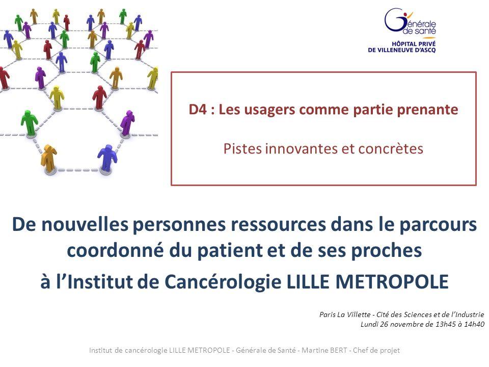 D4 : Les usagers comme partie prenante Pistes innovantes et concrètes De nouvelles personnes ressources dans le parcours coordonné du patient et de se