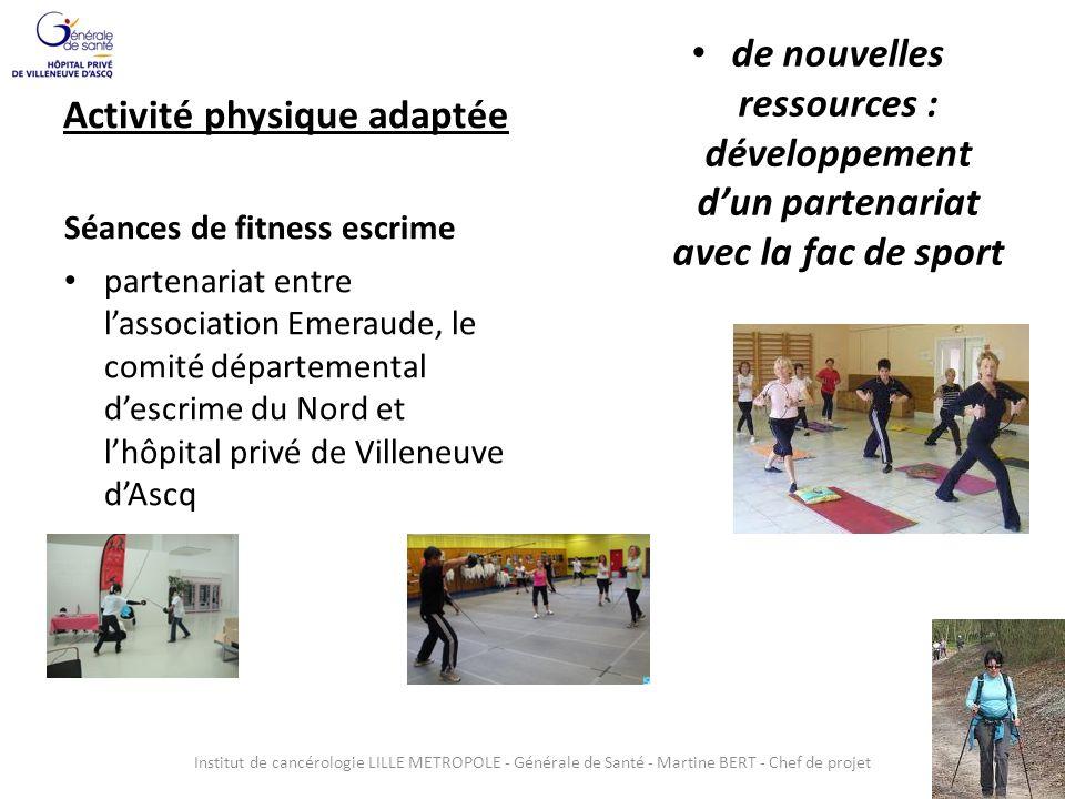 Activité physique adaptée Séances de fitness escrime partenariat entre lassociation Emeraude, le comité départemental descrime du Nord et lhôpital pri