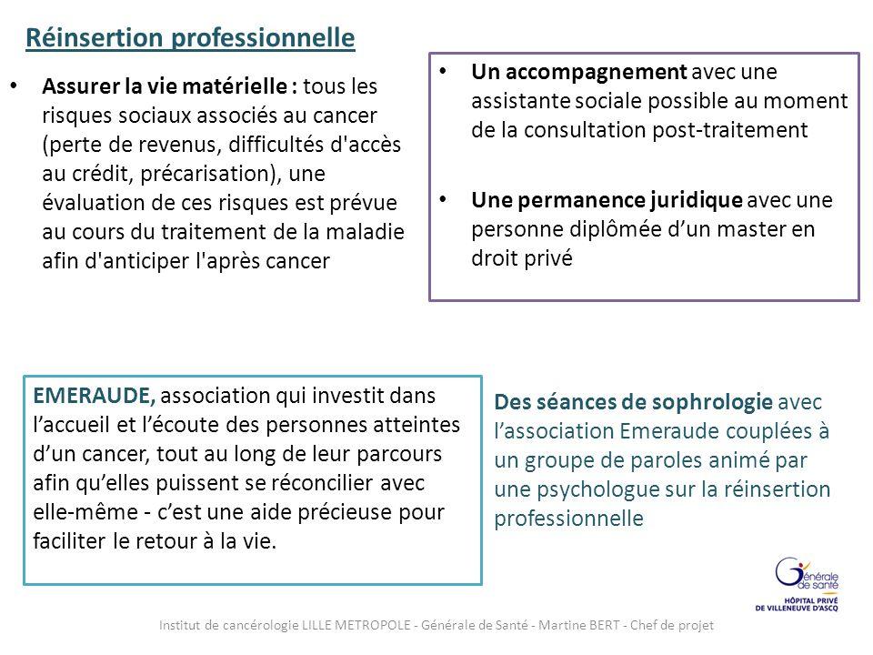 Réinsertion professionnelle Assurer la vie matérielle : tous les risques sociaux associés au cancer (perte de revenus, difficultés d'accès au crédit,