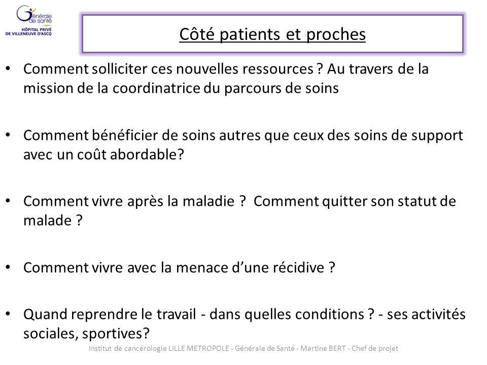 Côté patients et proches Comment solliciter ces nouvelles ressources ? Au travers de la mission de la coordinatrice du parcours de soins Comment bénéf