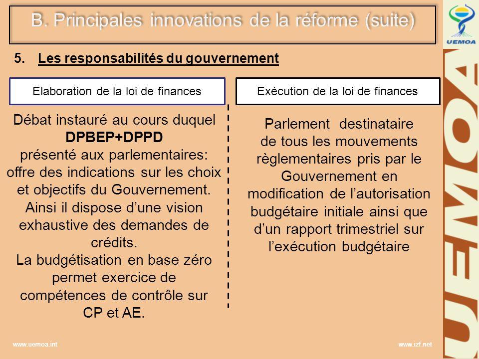 www.uemoa.int www.izf.net Elaboration de la loi de financesExécution de la loi de finances Débat instauré au cours duquel DPBEP+DPPD présenté aux parl