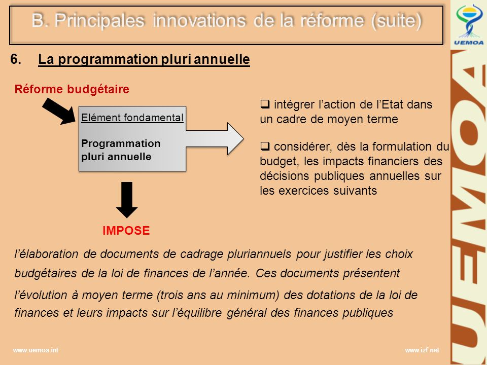 www.uemoa.int www.izf.net 6. La programmation pluri annuelle Réforme budgétaire Elément fondamental Programmation pluri annuelle Elément fondamental P