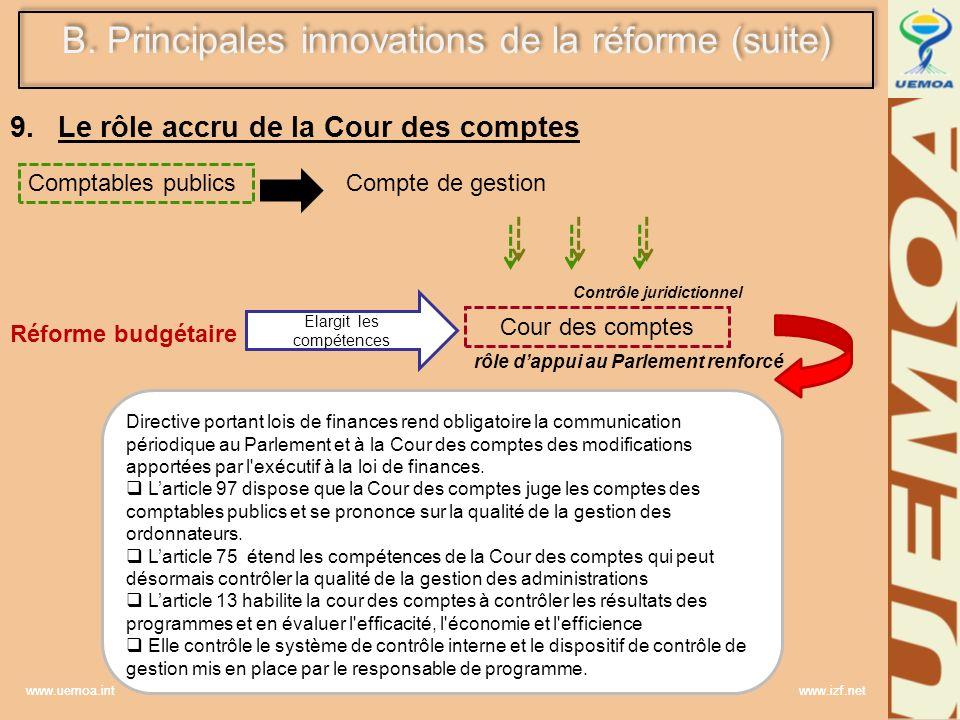 www.uemoa.int www.izf.net 9.Le rôle accru de la Cour des comptes Réforme budgétaire Elargit les compétences Cour des comptes Directive portant lois de