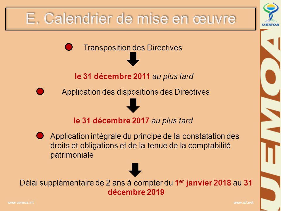 www.uemoa.int www.izf.net E. Calendrier de mise en œuvre Transposition des Directives le 31 décembre 2011 au plus tard Application des dispositions de