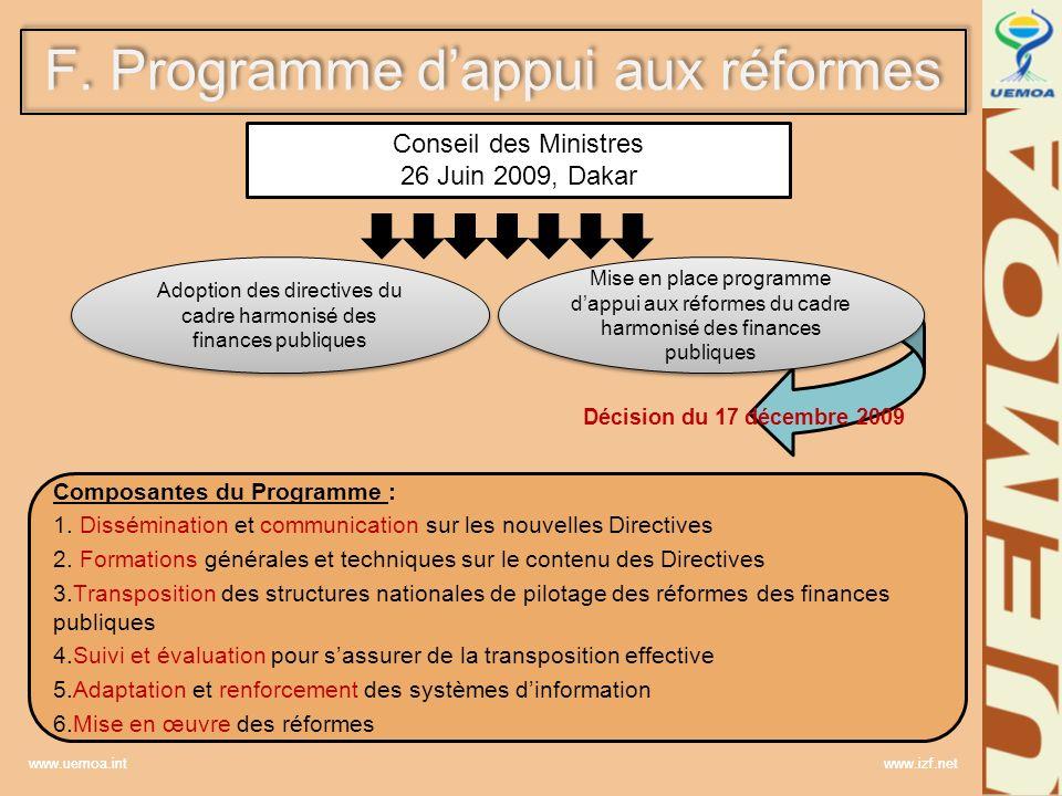 www.uemoa.int www.izf.net F. Programme dappui aux réformes Conseil des Ministres 26 Juin 2009, Dakar Adoption des directives du cadre harmonisé des fi