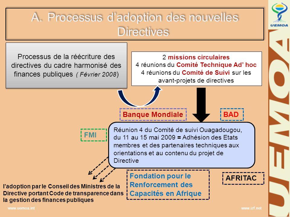 www.uemoa.int www.izf.net A.Processus dadoption des nouvelles Directives 2 missions circulaires 4 réunions du Comité Technique Ad hoc 4 réunions du Co