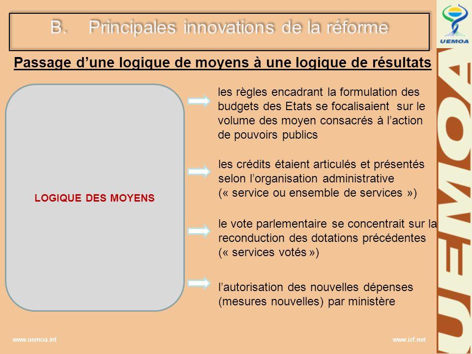 www.uemoa.int www.izf.net B.Principales innovations de la réforme Passage dune logique de moyens à une logique de résultats LOGIQUE DES MOYENS les règ