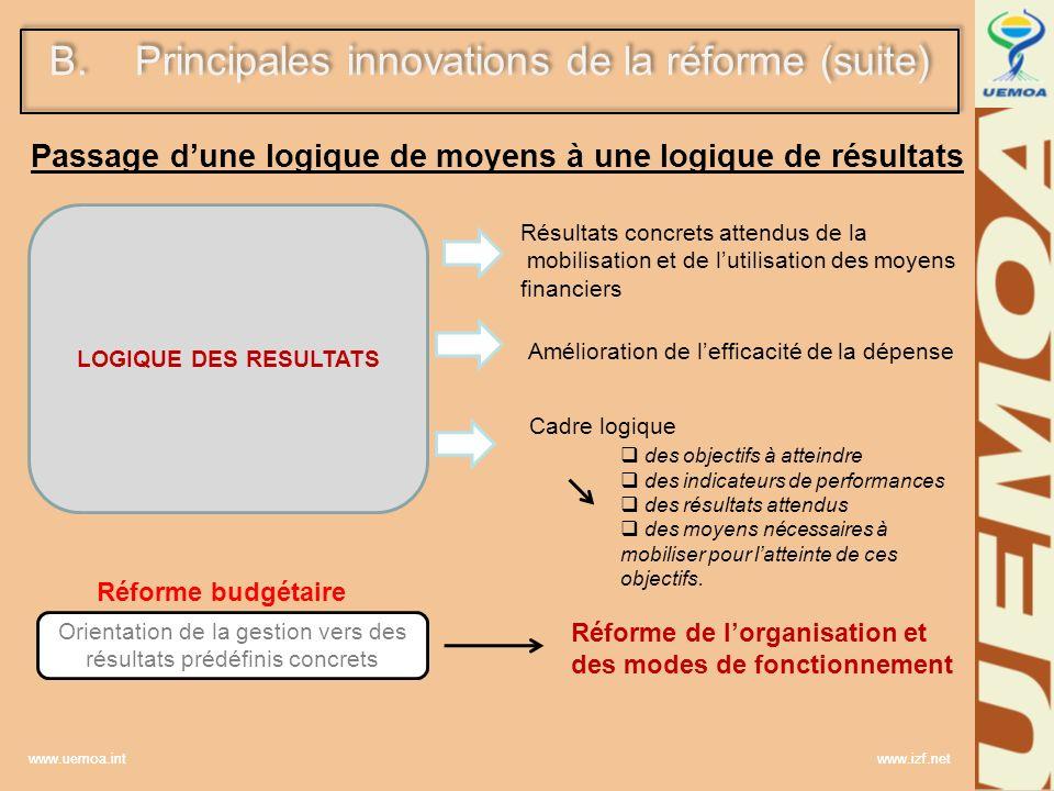 www.uemoa.int www.izf.net LOGIQUE DES RESULTATS Amélioration de lefficacité de la dépense B.Principales innovations de la réforme (suite) Passage dune