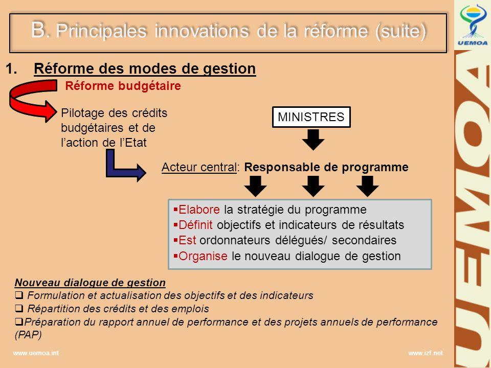 www.uemoa.int www.izf.net B.Principales innovations de la réforme (suite) 2.