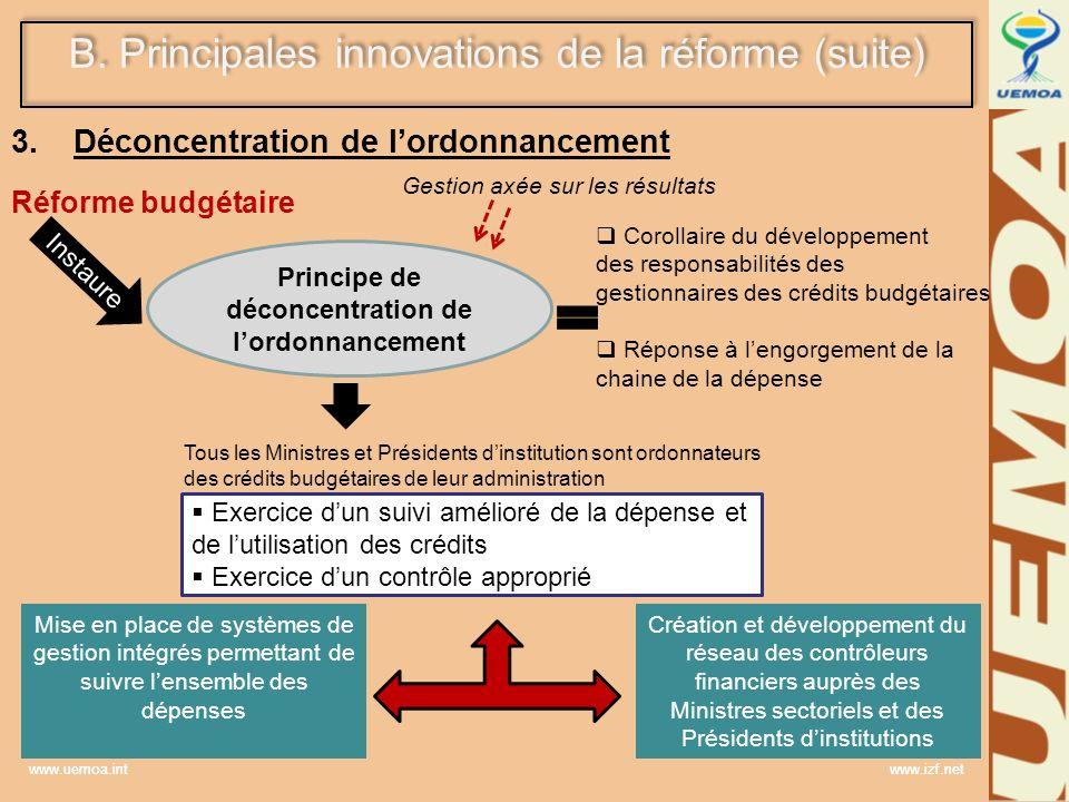 www.uemoa.int www.izf.net 3. Déconcentration de lordonnancement Réforme budgétaire Instaure Principe de déconcentration de lordonnancement Gestion axé