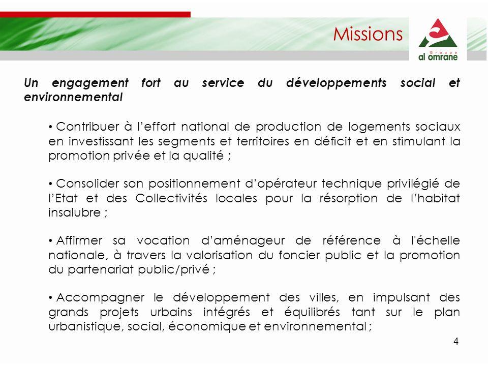 4 Missions Un engagement fort au service du développements social et environnemental Contribuer à leffort national de production de logements sociaux