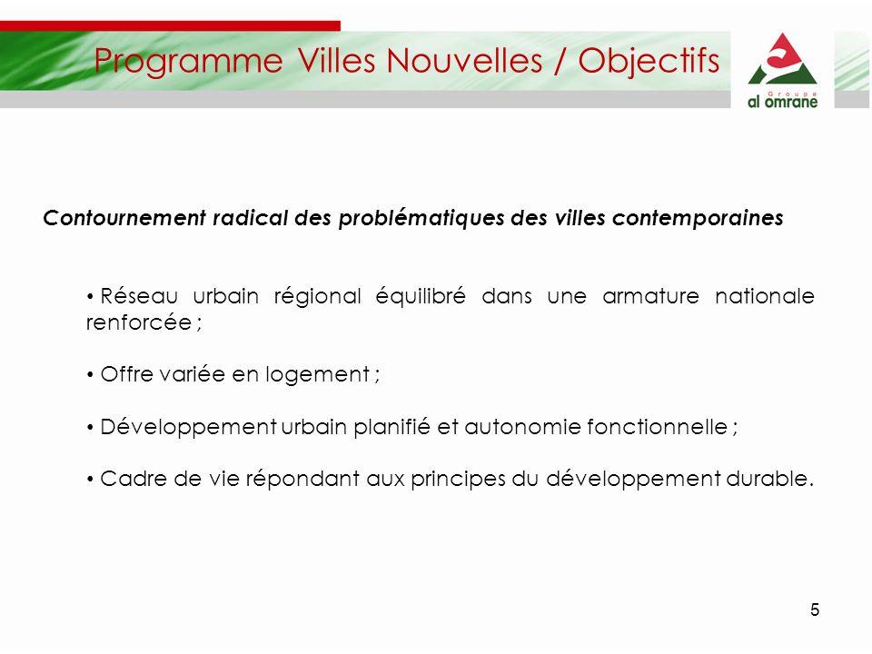 5 Programme Villes Nouvelles / Objectifs Contournement radical des problématiques des villes contemporaines Réseau urbain régional équilibré dans une