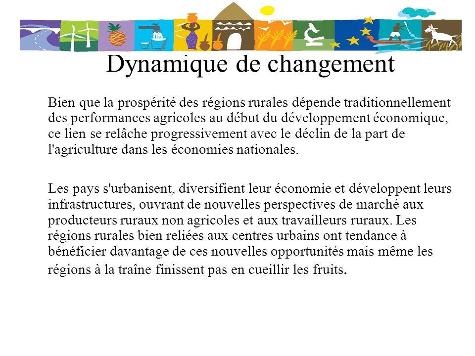 Dynamique de changement Bien que la prospérité des régions rurales dépende traditionnellement des performances agricoles au début du développement éco