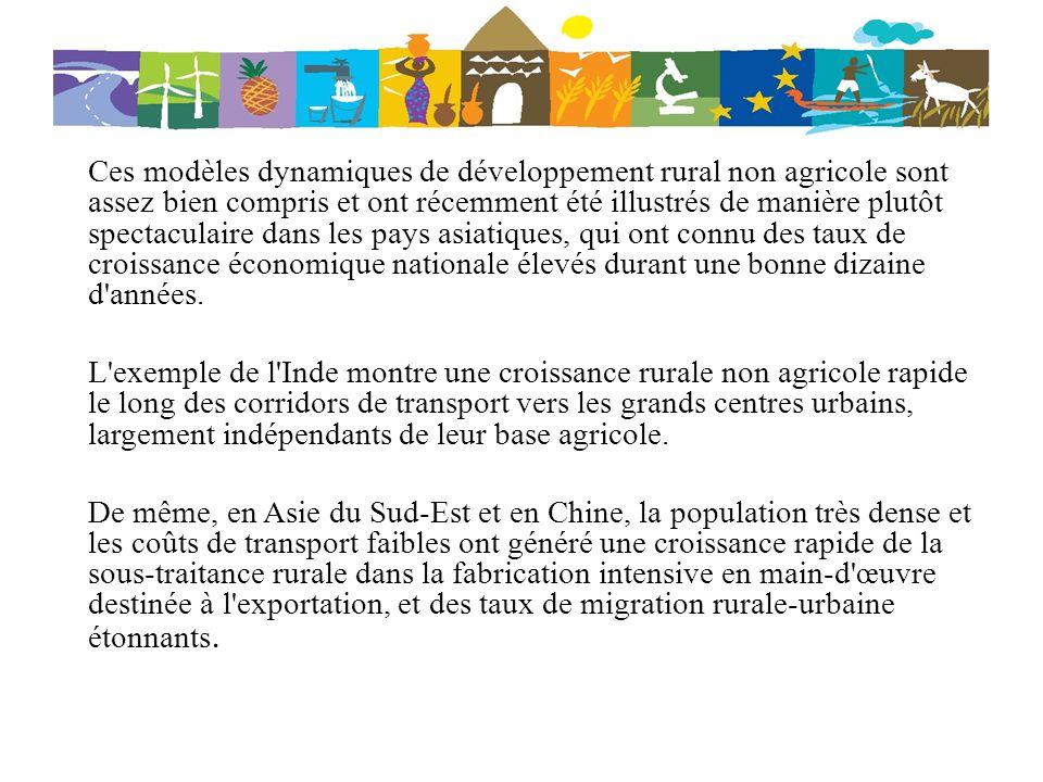 Ces modèles dynamiques de développement rural non agricole sont assez bien compris et ont récemment été illustrés de manière plutôt spectaculaire dans
