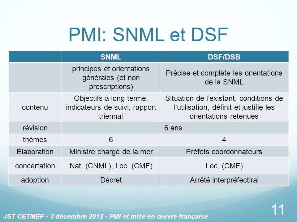 PMI: SNML et DSF 11 SNMLDSF/DSB principes et orientations générales (et non prescriptions) Précise et complète les orientations de la SNML contenu Obj
