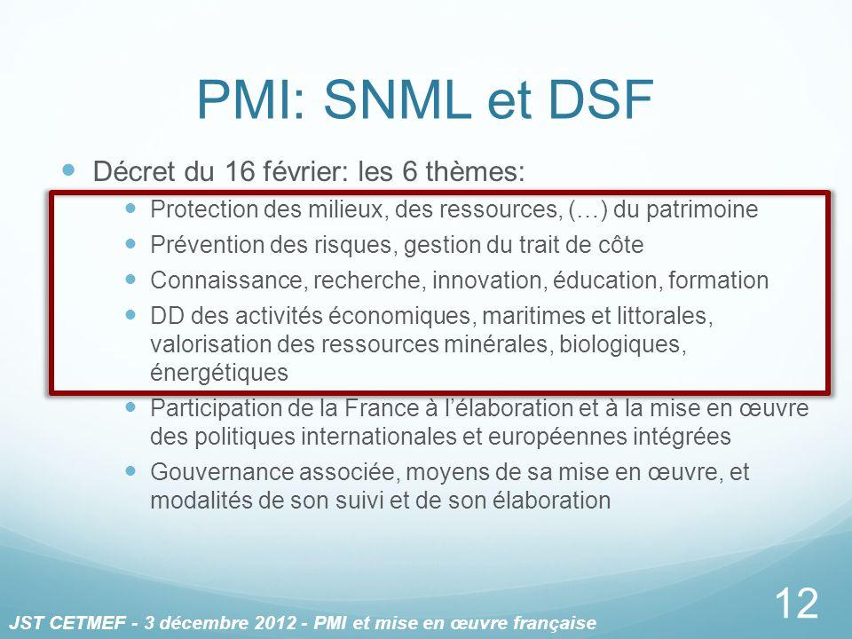 PMI: SNML et DSF Décret du 16 février: les 6 thèmes: Protection des milieux, des ressources, (…) du patrimoine Prévention des risques, gestion du trai