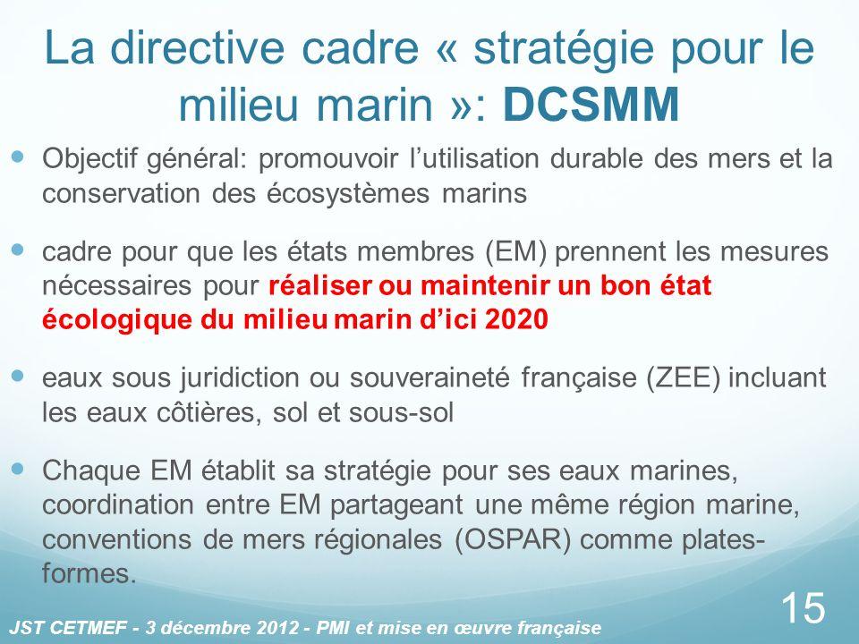 Objectif général: promouvoir lutilisation durable des mers et la conservation des écosystèmes marins cadre pour que les états membres (EM) prennent le
