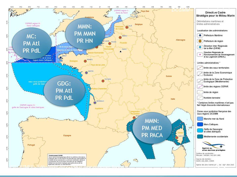 Les sous régions marines (SRM) DCSMM – I – cadre général MC: PM Atl PR PdL GDG: PM Atl PR PdL MMN: PM MMN PR HN 17 MMN: PM MED PR PACA JST CETMEF - 3