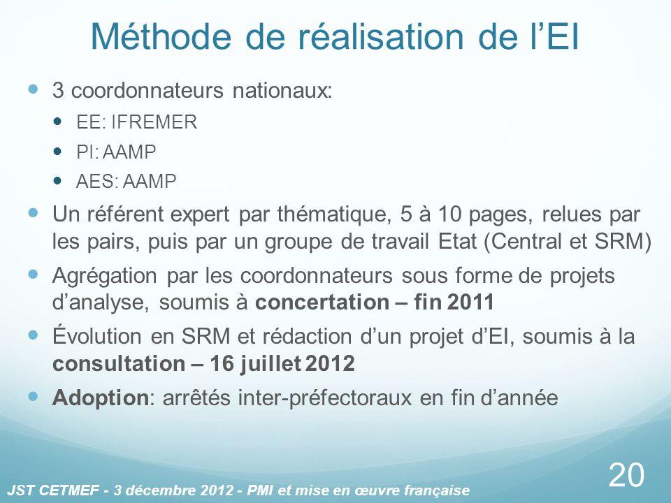 3 coordonnateurs nationaux: EE: IFREMER PI: AAMP AES: AAMP Un référent expert par thématique, 5 à 10 pages, relues par les pairs, puis par un groupe d