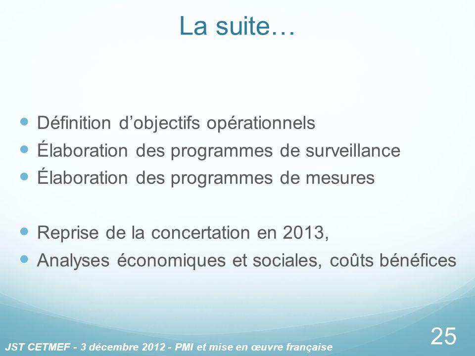 Définition dobjectifs opérationnels Élaboration des programmes de surveillance Élaboration des programmes de mesures Reprise de la concertation en 201