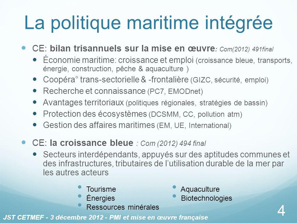 La politique maritime intégrée CE: bilan trisannuels sur la mise en œuvre : Com(2012) 491final Économie maritime: croissance et emploi (croissance ble