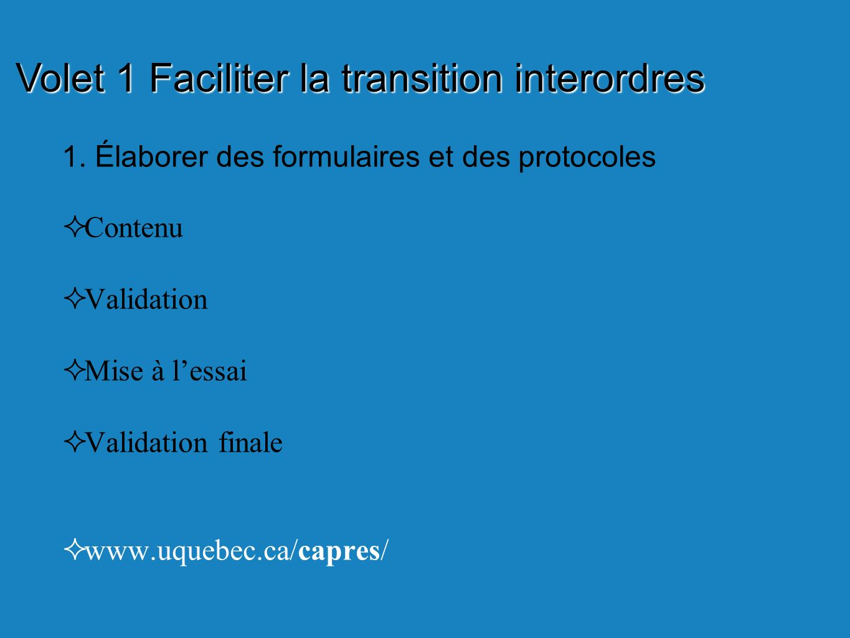 1. Élaborer des formulaires et des protocoles Contenu Validation Mise à lessai Validation finale www.uquebec.ca/capres/ Volet 1 Faciliter la transitio