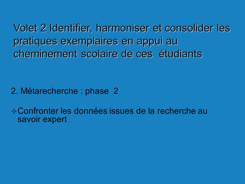 2. Métarecherche : phase 2 Confronter les données issues de la recherche au savoir expert Volet 2 Identifier, harmoniser et consolider les pratiques e