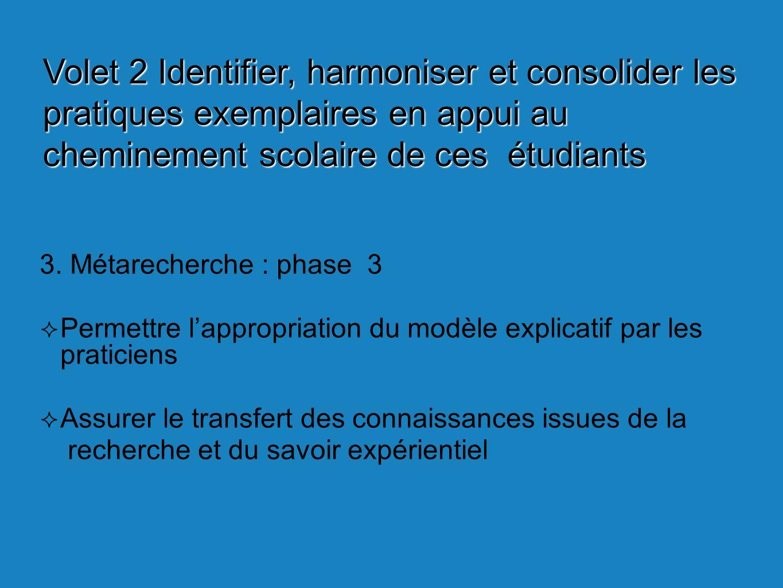 3. Métarecherche : phase 3 Permettre lappropriation du modèle explicatif par les praticiens Assurer le transfert des connaissances issues de la recher