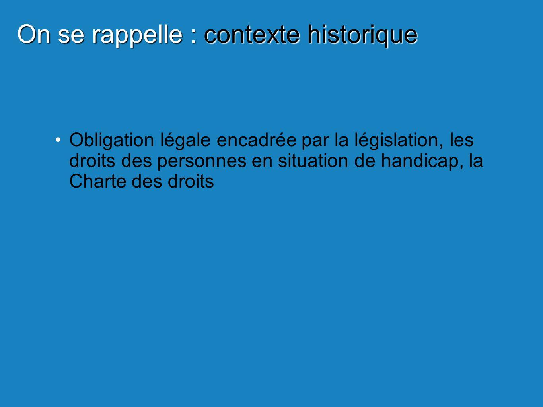 Obligation légale encadrée par la législation, les droits des personnes en situation de handicap, la Charte des droits On se rappelle : contexte historique