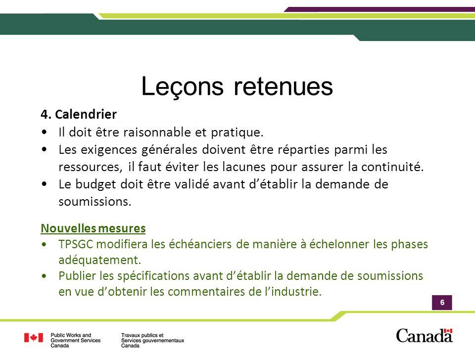 6 Leçons retenues 4. Calendrier Il doit être raisonnable et pratique.
