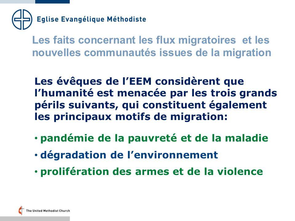 Les évêques de lEEM considèrent que lhumanité est menacée par les trois grands périls suivants, qui constituent également les principaux motifs de migration: pandémie de la pauvreté et de la maladie dégradation de lenvironnement prolifération des armes et de la violence Les faits concernant les flux migratoires et les nouvelles communautés issues de la migration