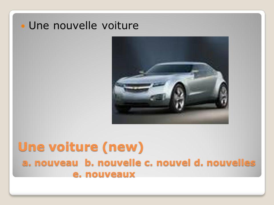 Une voiture (new) a. nouveau b. nouvelle c. nouvel d. nouvelles e. nouveaux Une nouvelle voiture