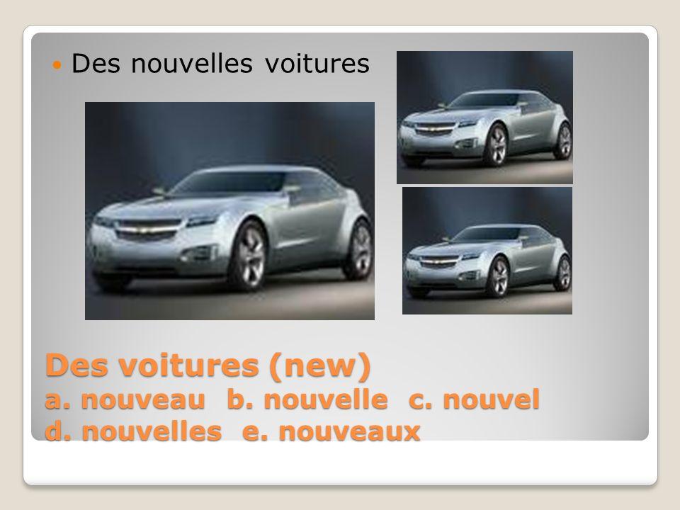 Des voitures (new) a. nouveau b. nouvelle c. nouvel d. nouvelles e. nouveaux Des nouvelles voitures