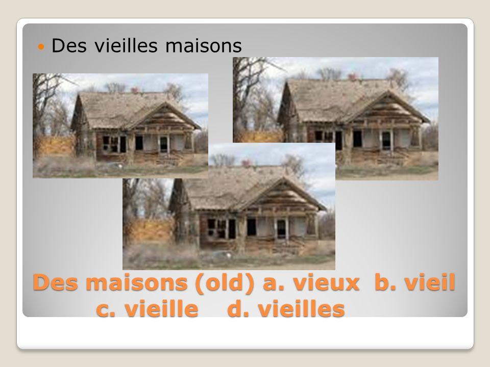 Des maisons (old) a. vieux b. vieil c. vieille d. vieilles Des vieilles maisons