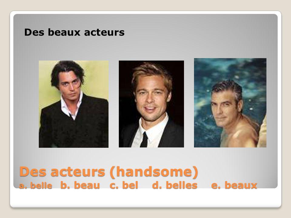 Des acteurs (handsome) a. belle b. beau c. bel d. belles e. beaux Des beaux acteurs